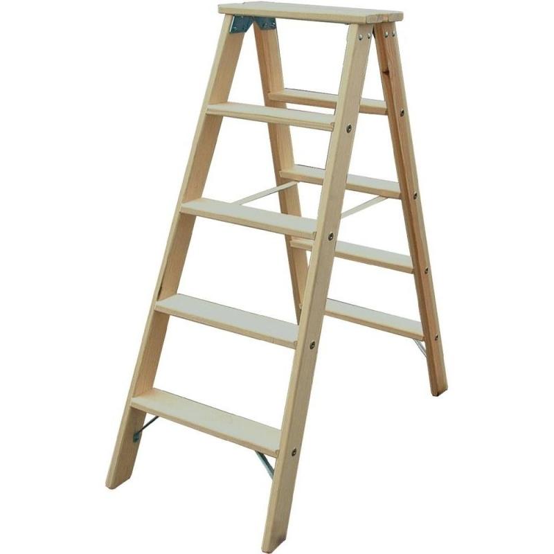 Escalera de tijera en madera 2 x 6 pelda os for Escalera tijera de madera