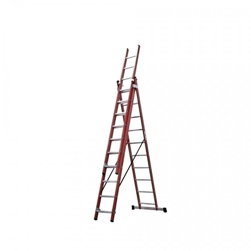 Escalera doble en fibra de vidrio 2 x 14 pelda os for Escaleras fibra